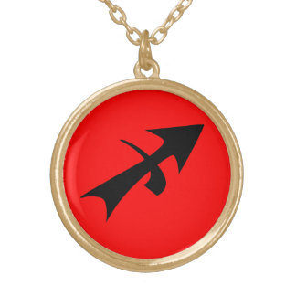 Sagittarius Horoscope Sign Black Red Gold Finish Gold Plated Necklace