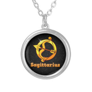 Sagittarius illustration silver plated necklace