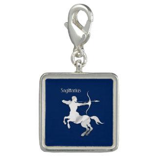 Sagittarius Silver Archer Zodiac Navy Blue Charm