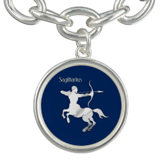 Sagittarius Silver Archer Zodiac Navy Blue Charm Bracelet