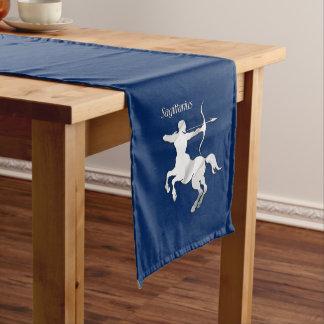 Sagittarius Silver Archer Zodiac Navy Blue Long Table Runner