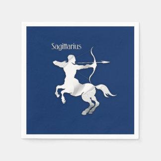 Sagittarius Silver Archer Zodiac Navy Blue Napkin