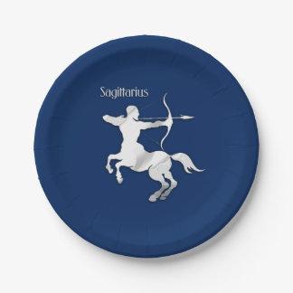 Sagittarius Silver Archer Zodiac Navy Blue Paper Plate