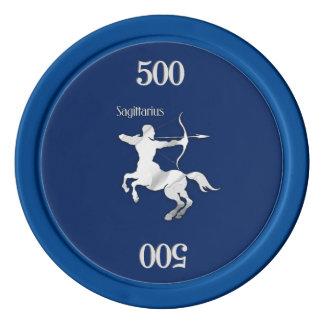 Sagittarius Silver Archer Zodiac Navy Blue Poker Chips