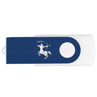 Sagittarius Silver Archer Zodiac Navy Blue USB Flash Drive