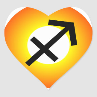 SAGITTARIUS SYMBOL HEART STICKER