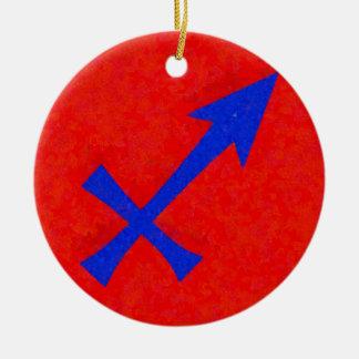 Sagittarius symbol round ceramic ornament