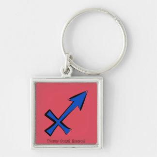 Sagittarius symbol Silver-Colored square keychain