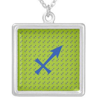 Sagittarius symbol silver plated necklace