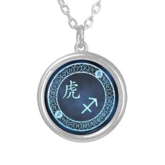 Sagittarius/Tiger Silver Plated Necklace