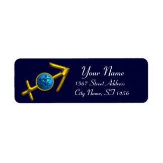 SAGITTARIUS ZODIAC BIRTHDAY Blue Turquoise Return Address Label