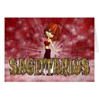 Sagittarius Zodiac Birthday card with cutie pie Ga