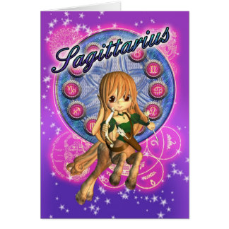 Sagittarius Zodiac Card With Cute Female Centaur