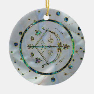 Sagittarius Zodiac Gold Abalone on Constellation Ceramic Ornament