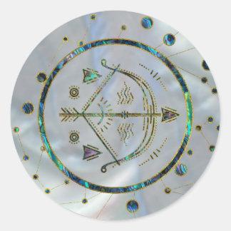 Sagittarius Zodiac Gold Abalone on Constellation Classic Round Sticker