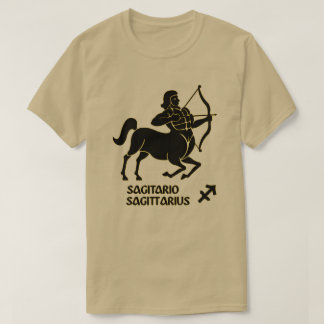 Sagittarius Zodiac Sign Black Gold Modern T-Shirt