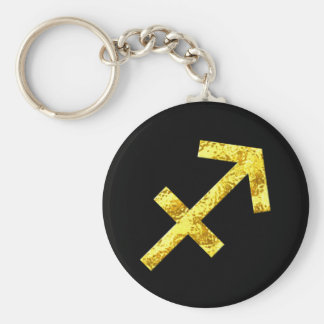 Sagittarius Zodiac Sign Black Gold Symbol Keychain