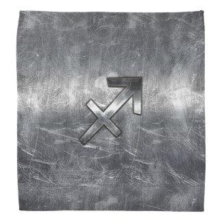 Sagittarius Zodiac Silver Distressed Steel look Bandana