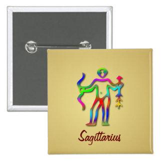 Sagittarius Zodiac Star Sign Rainbow Gold Badge Pinback Button
