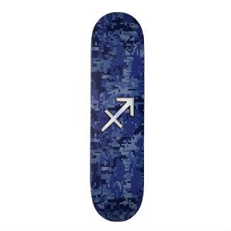 Sagittarius Zodiac Symbol NavyDigital Camouflage Skate Deck