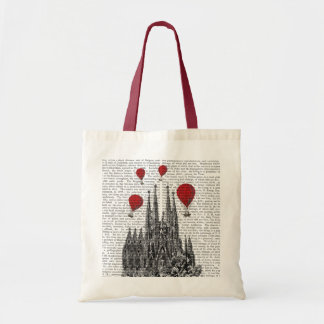 Sagrada Familia and Red Hot Air Balloons Tote Bag