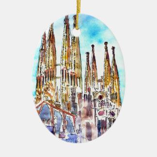 Sagrada Familia Barcelona Ceramic Oval Ornament