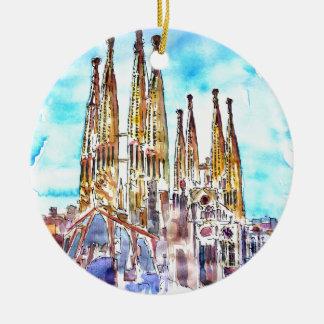 Sagrada Familia Barcelona Round Ceramic Ornament