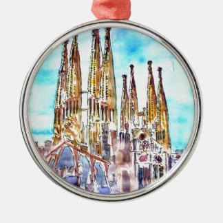 Sagrada Familia Barcelona Silver-Colored Round Ornament