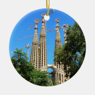 Sagrada Familia church in Barcelona, Spain Round Ceramic Ornament