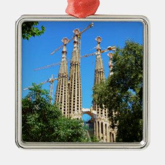 Sagrada Familia church in Barcelona, Spain Silver-Colored Square Ornament