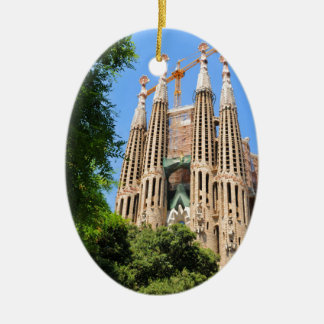 Sagrada Familia in Barcelona, Spain Ceramic Ornament