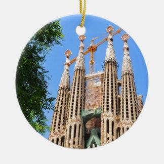 Sagrada Familia in Barcelona, Spain Round Ceramic Ornament