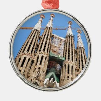 Sagrada Familia in Barcelona, Spain Silver-Colored Round Ornament