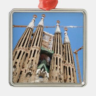 Sagrada Familia in Barcelona, Spain Silver-Colored Square Ornament