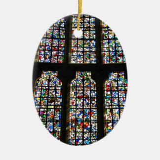 Sagrada Familia Stained Glass Barcelona Photograph Ceramic Oval Ornament