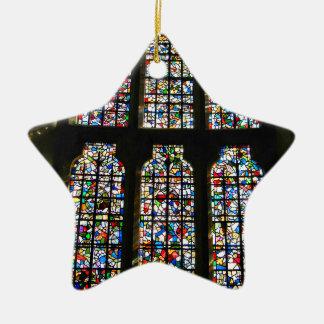 Sagrada Familia Stained Glass Barcelona Photograph Ceramic Star Ornament