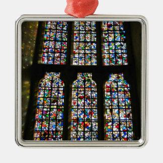 Sagrada Familia Stained Glass Barcelona Photograph Silver-Colored Square Ornament