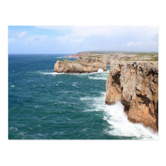 Sagres Algarve rugged coastline Postcard