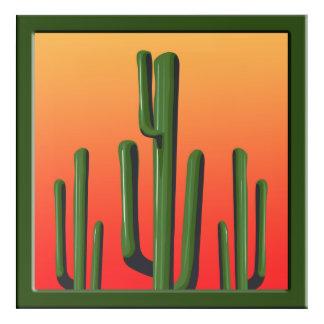 Saguaro Cactus Desert  Sunset Wall Art Acrylic Sq