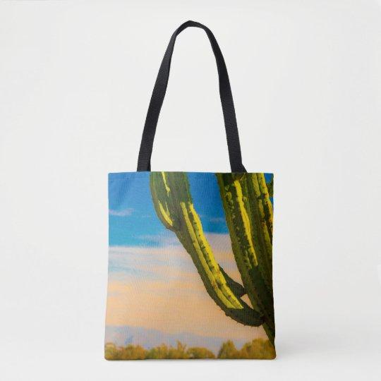 Saguaro Desert Cactus on a Blue Sky Grocery Beach Tote Bag