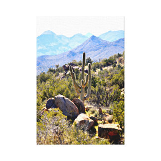 Saguaro in Mountains Wall Canvas