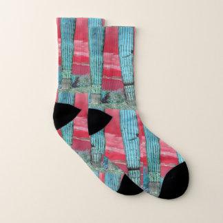 Saguaro in Red/Turquoise Unisex Socks 1