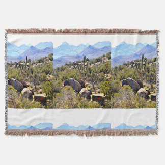 Saguaro in the Mountains Throw Blanket