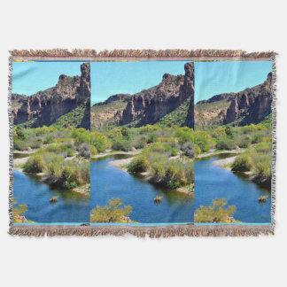 Saguaro Lake Landscape Throw Blanket