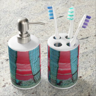Saguaro Pillar in Red Sky & Turquoise Bathroom Set