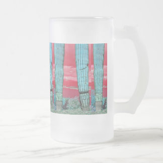 Saguaro Pillar - Red Sky & Turquoise Frosted Glass Frosted Glass Beer Mug