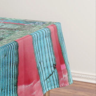 Saguaro Pillar - Red Sky & Turquoise Table Cloth