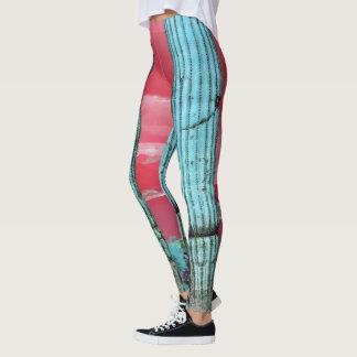 Saguaro Pillars Red & Turquoise Women's Leggings