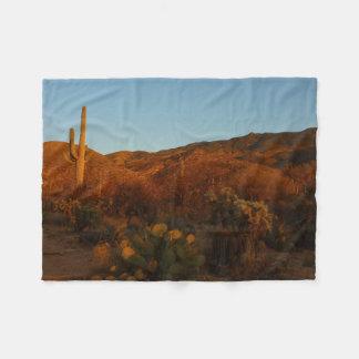 Saguaro Sunset I Arizona Desert Landscape Fleece Blanket