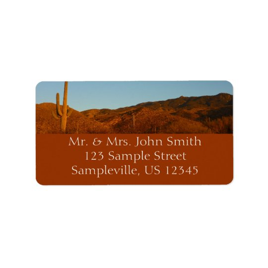 Saguaro Sunset I Arizona Desert Landscape Label